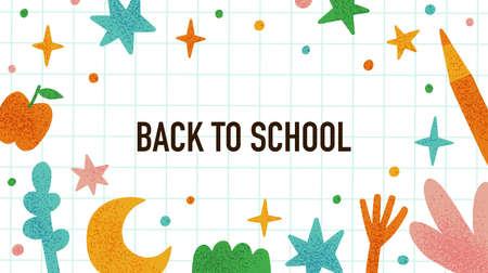 Back to school poster. Funny education concept. Ilustração