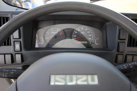 the interior of the truck cabin Isuzu inside - Russia, Moscow, 24 September 2016