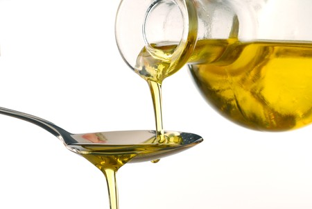 Olive oil poured into a spoon isolated on white background Stock Photo - 4329356