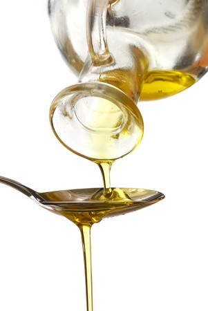 Olive oil poured into a spoon isolated on white background Stock Photo - 4433033