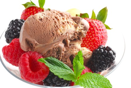 Ice Cream in bowl with fruits Stock Photo