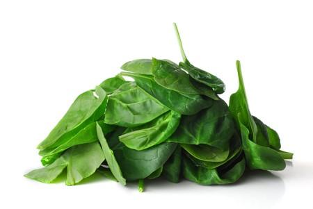 spinaci: Baby Spinach studio su sfondo bianco isolato Archivio Fotografico