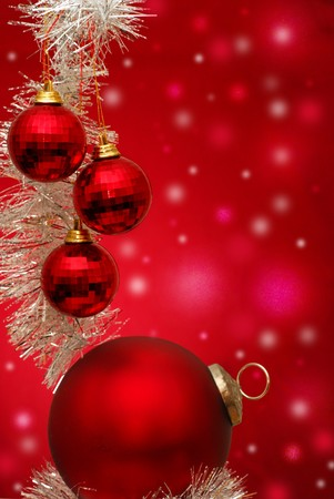 newyear: Christmass ornaments with red background Stock Photo