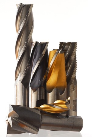 cutter: Image of end mills studio isolated on white background