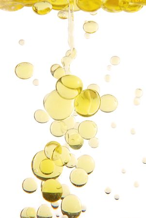 Olive oil drops studio isolated on white background