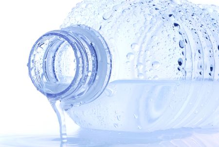 Abstract image of water bottle with white background
