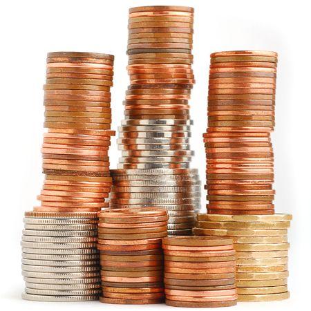 Extreme close-up image of coins studio isolated on white background photo