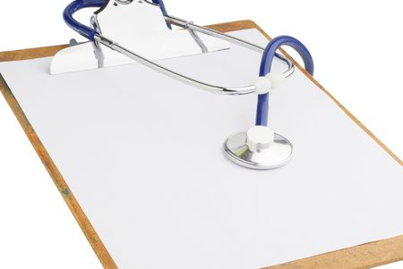 Clipboard with stethoscope studio isolated on white background Stock Photo - 4629956
