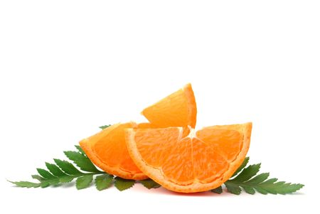 Two slices of orange studio isolated on white background photo
