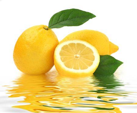 acidic: Lemon studio isolated on white background