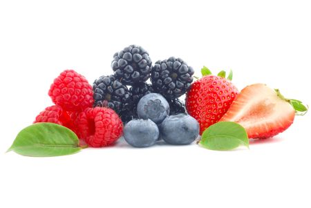 Close-up image of berries studio isolated on white background
