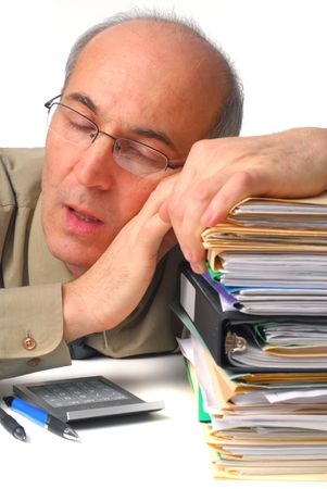 Business employee exhausted from workload fell a sleep Stock Photo - 4909328