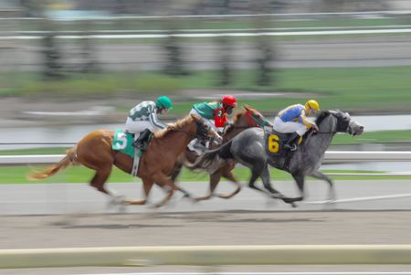 Speeding race horses with blured background Stock Photo - 5048577