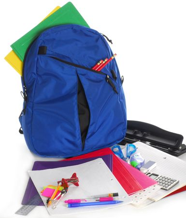 backpack school: Back to school supplies studio isolated on white background Stock Photo