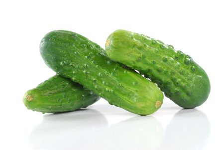 Close-up image of a cucumbers studio isolated on white background