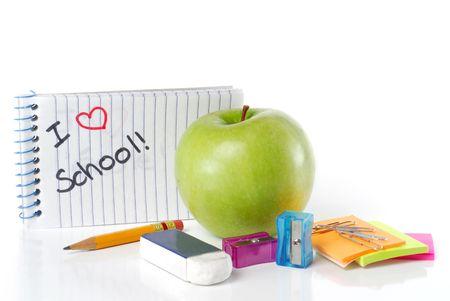 utiles escolares: Escuela de suministros con manzana y mensaje de I Love School