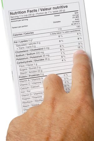 carbohydrate: Nutrition fact label and hand pointing at 12 percent sodium Stock Photo