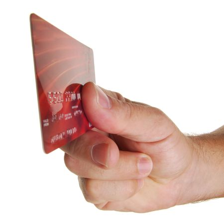 Hand holding credit card with white background Stock Photo