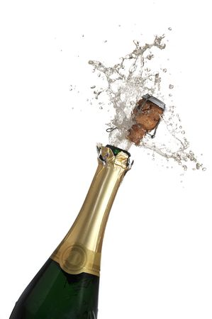 Extreme close-up of explosion of champagne bottle cork Stock Photo