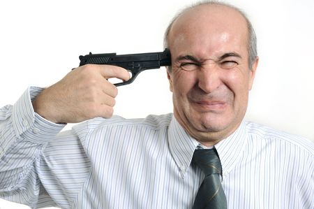 A businessman playing with a gun with white background photo