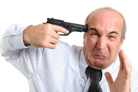 A man playing with a gun with white background photo