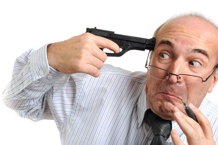 Upset businessman attempting to commit a suicide photo
