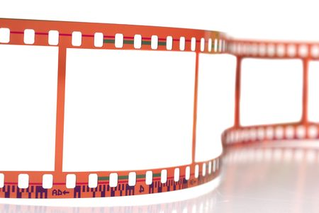 Close-up image of 35mm film strip isolated on white background photo