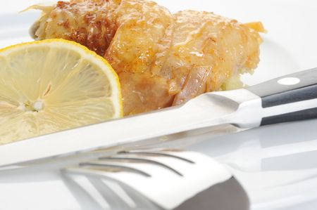 A plate with chicken, couscous and a lemon wedge. Stock Photo - 6267945