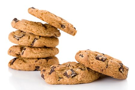 Extreme close-up image of chocolate chips cookies Stock Photo
