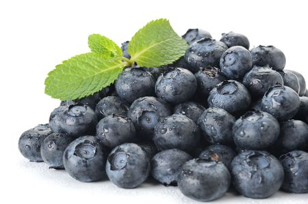 Close-up image of blueberries studio isolated on white background