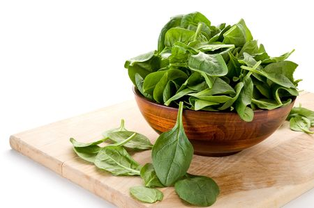 spinach: Image of spinach and bowl with white background