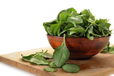 Image of spinach in bowl with white background Stock Photo - 6533885