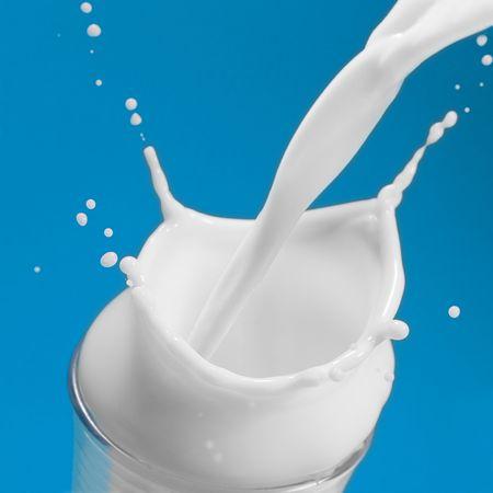 Extreme close-up image of a milk splash