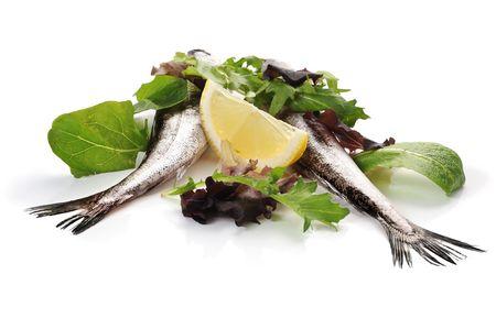 Fish and salad studio isolated on white background Stock Photo - 6825142