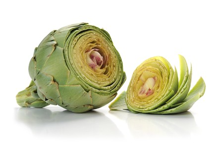 Close-up image of an artichoke studio isolated on white background