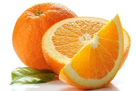 orange slice: Extreme close-up beeld van een sinaasappel Stockfoto