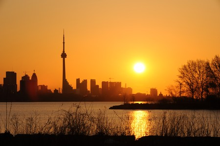 Modern building and CN Tower in downtown Toronto as silhouette Stock Photo - 7417474