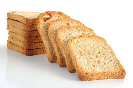 Toasted bread studio isolated on a white background photo