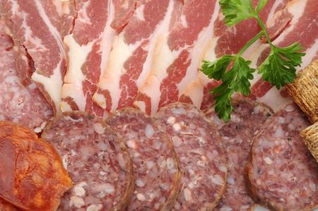Extrema imagen vista de cerca de salami, buena para el fondo Foto de archivo - 7748534