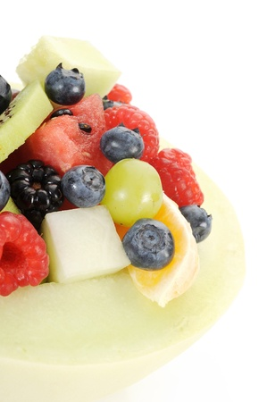 Close-up image of a fruit salad with white background photo