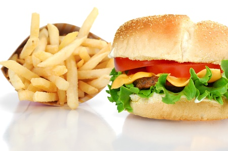 Delicious hamburger with fries, studio isolated on white background photo