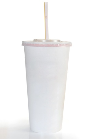cola: A soft drink in clear takeout paper cup with lid and straw