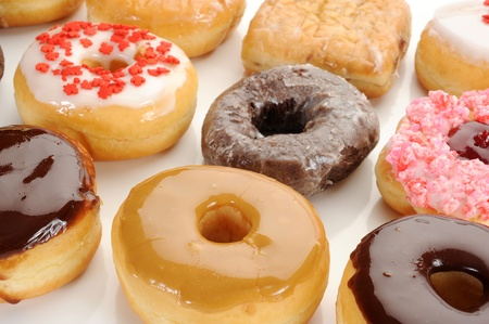 close up food: Extreme close-up image of mixed donuts Stock Photo