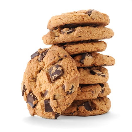 biscuit: Extreme close-up image of chocolate chips cookies Stock Photo