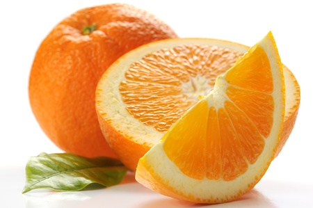 orange slices: Extreme close-up image of an orange on white background