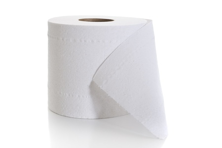 toilet roll: Close-up image of toilet paper studio isolated on white background
