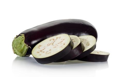 Close-up image of an eggplant studio isolated on white background