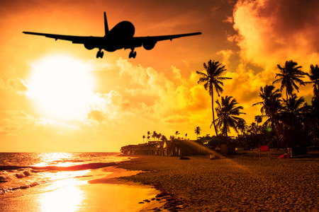 playas tropicales: Airplane landing at a tropical place