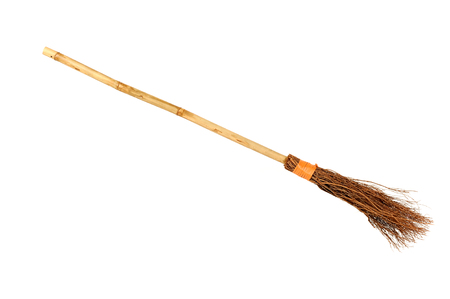 broomstick: Witch broomstick isolated on white background