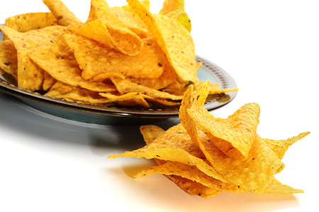 corn chips: Corn chips on white background